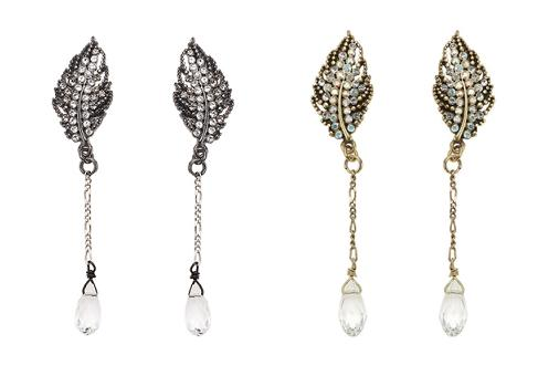 Bohm Ice Petals Feather Crystal Drop Earrings