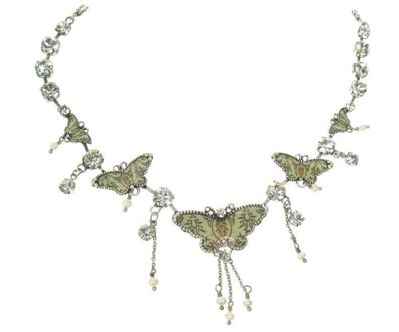 PILGRIM Butterflies Charm Necklace - Cream/Beige