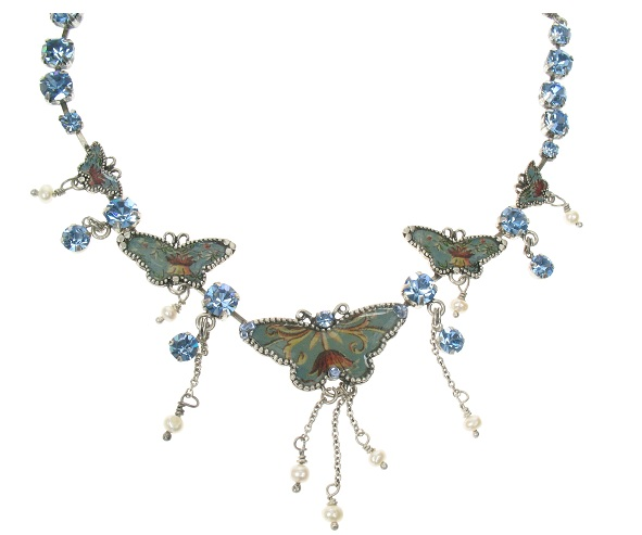 PILGRIM Butterflies Charm Necklace - Light Blue