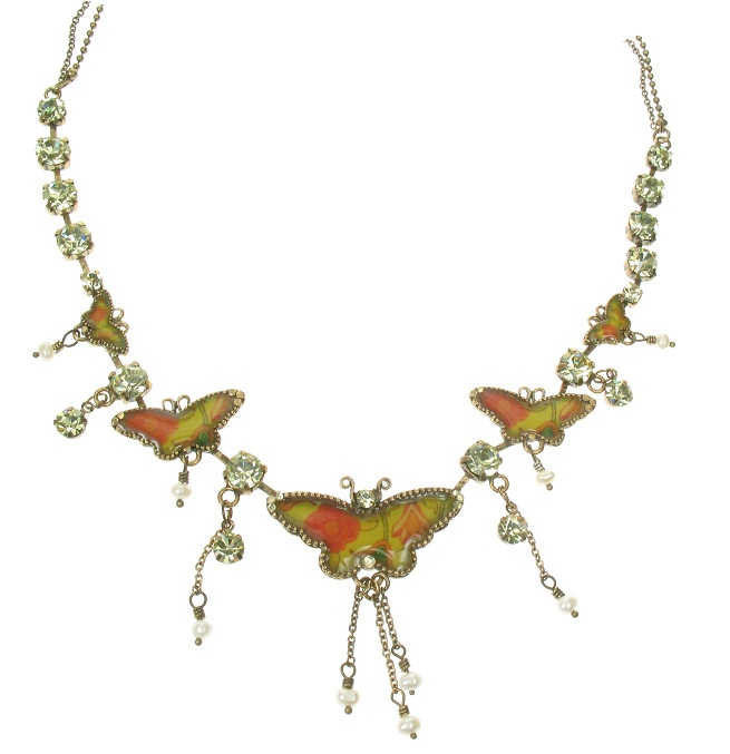 PILGRIM Butterflies Charm Necklace - Yellow/Orange