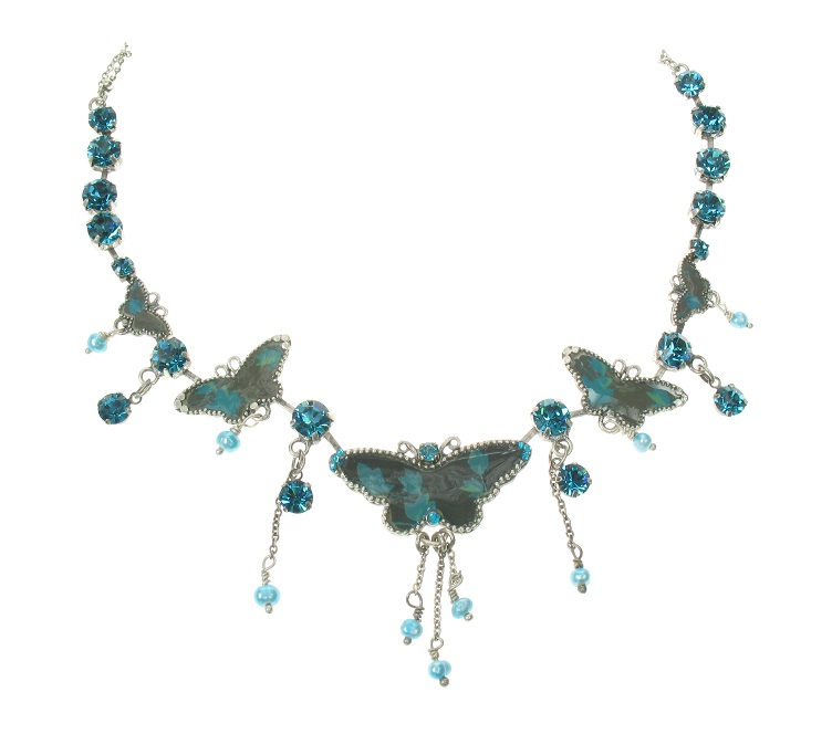 PILGRIM Butterflies Charm Necklace - Dark Blue/Turquoise