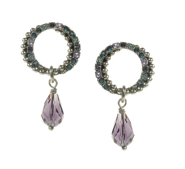 The Bohm - Eccentric Elegance - Double Hoop & Crystal Drop Earrings - Hematite/Blue