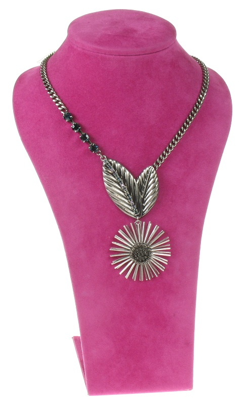 The Bohm - Eccentric Elegance - Flower Drop Necklace - Hematite/Blue