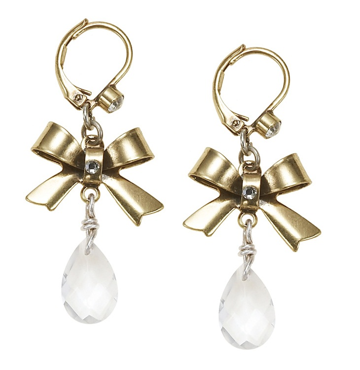'Charm Du Jour'  Bow & Crystal Drop Earrings - Gold Plates