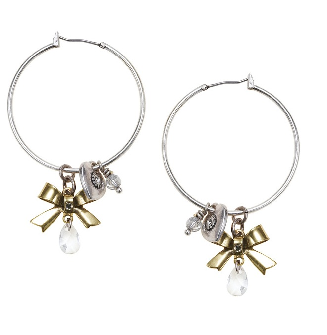 'Charm Du Jour'  Hoop & Charm Earrings - Mixed Gold Silver Plates