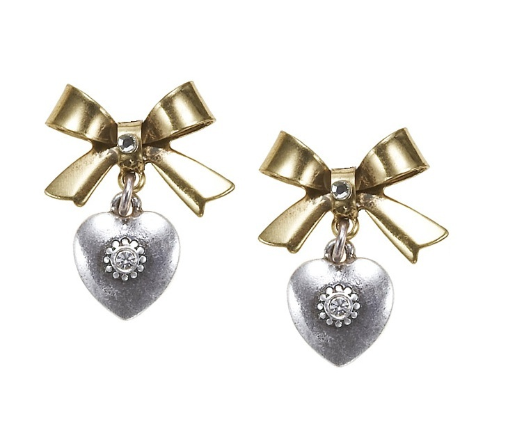 'Charm Du Jour'  Bow & Heart Earrings - Gold/Silver Plates