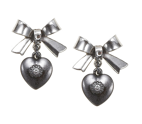 'Charm Du Jour'  Bow & Heart Earrings - Hematite Plates