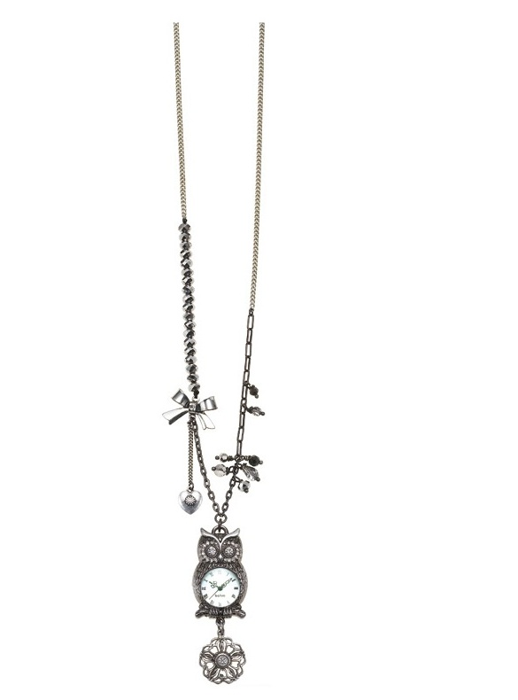 Charm Du Jour Long Owl Necklace- Hematite Plate
