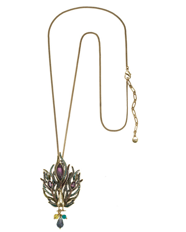 Peacock Pendant Long Necklace - Burnished Gold Plate