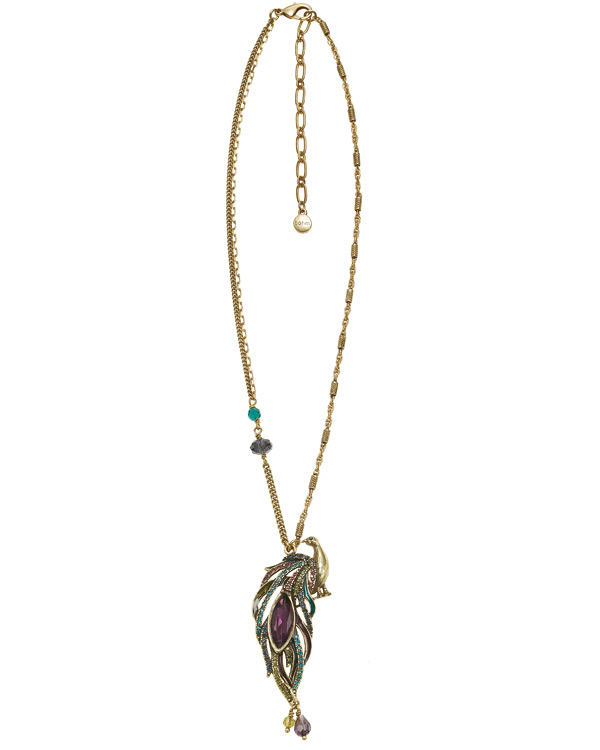 Peacock Pendant Necklace - Burnished Gold Plate