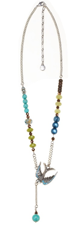 Cluster Allure Necklace Silver/Turquoise/Green - THE BOHM