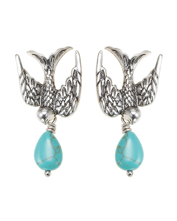 The Bohm Cluster Allure Bird Earrings - Silver/Turquoise