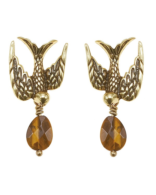 The Bohm Cluster Allure Bird Earrings Gold/Tiger-Eye