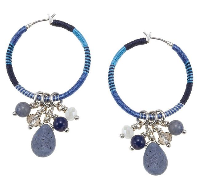 The Bohm Butterfly Romance Bound Hoop Drop Earrings  - Silver/Blue