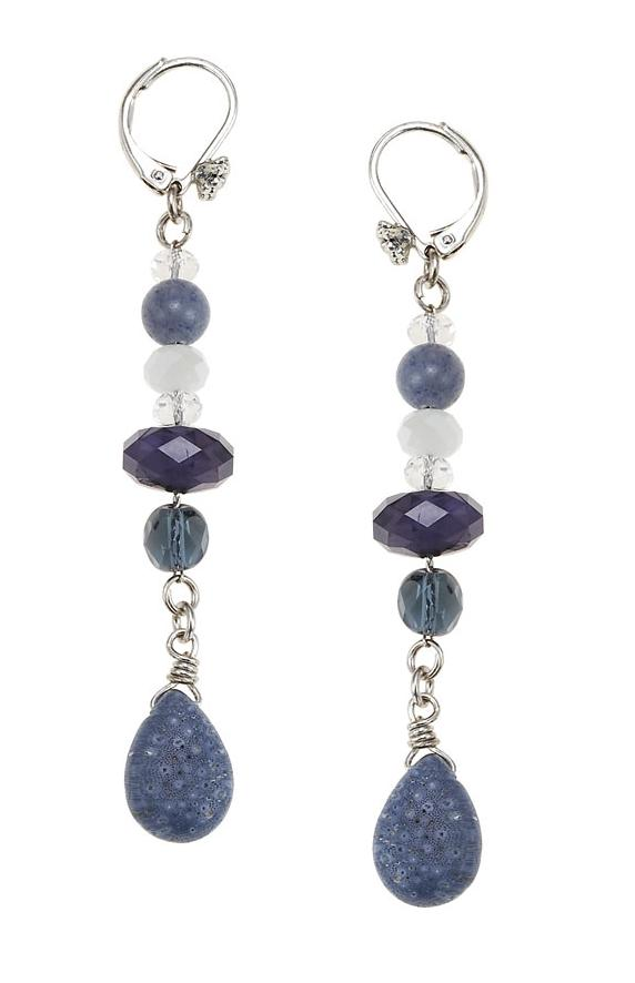 The Bohm Butterfly Romance Long Drop Earrings  - Silver/Blues