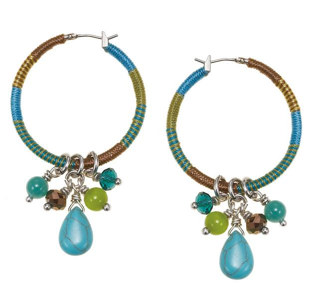 The Bohm Butterfly Romance Bound Hoop Drop Earrings  - Gold/Silver/Green/Turquoise