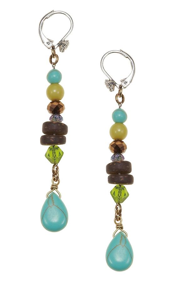 The Bohm Butterfly Romance Long Drop Earrings  - Gold/Silver/Green/Turquoise