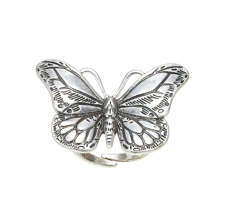 The Bohm Butterfly Romance Adjustable Ring - Silver