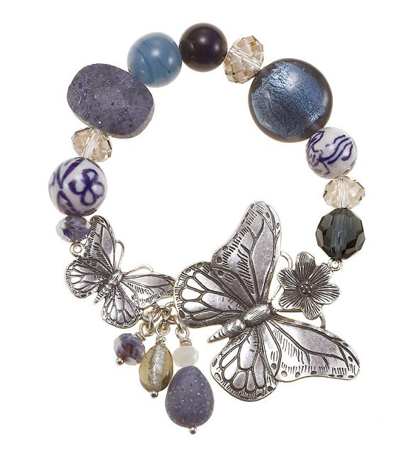 The Bohm Butterfly Romance Stretch Bead Bracelet - Silver/Blue