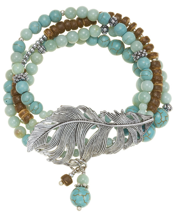 The Bohm Free Spirit Multi-Layer Bracelet - Burnished Silver Plate/Turquoise