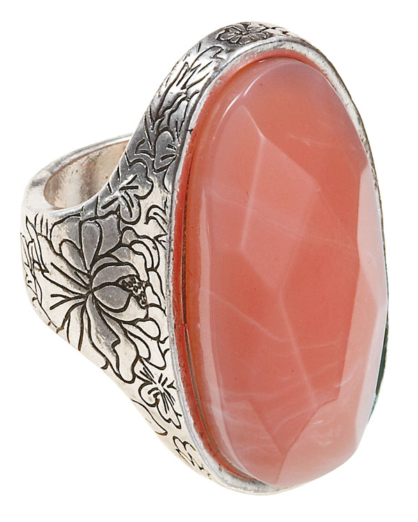 Bohm Gumball Flower Impressed Stone Insert Ring - Silver/Coral