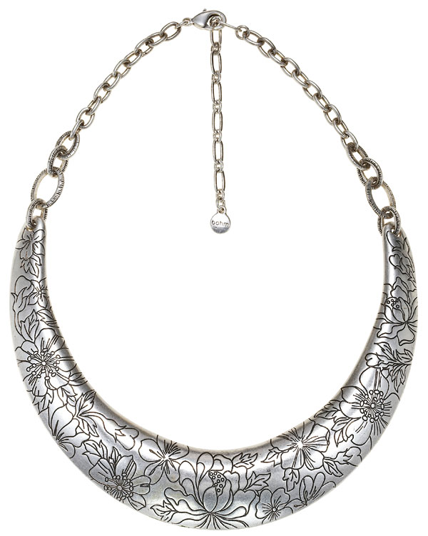 Bohm Gumball Flower Impressed Collar Necklace - Silver