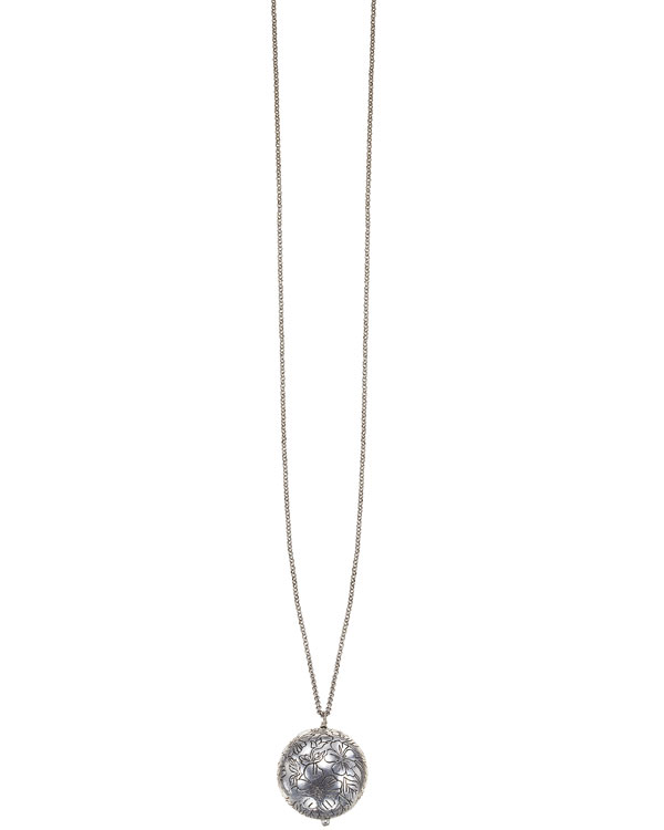 Bohm Gumball Flower Impressed Sphere Pendant Long Necklace - Silver