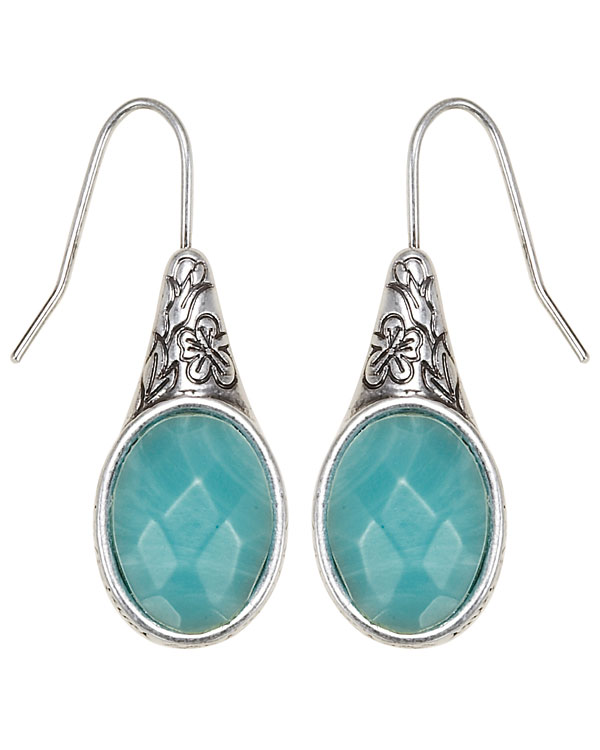 Bohm Gumball Flower Impressed Stone Insert Earrings - Silver/Turquoise