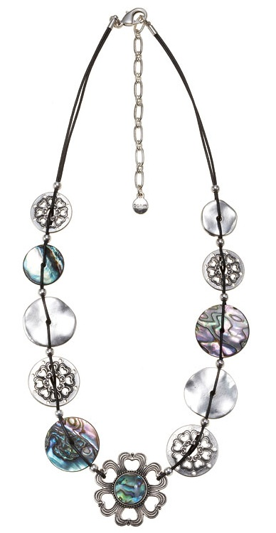 The Bohm Abalone Moon Disc & Leather Necklace - Silver Plate