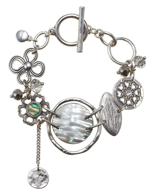 The Bohm Abalone Moon Disc T-Bar Bracelet - Silver Plate