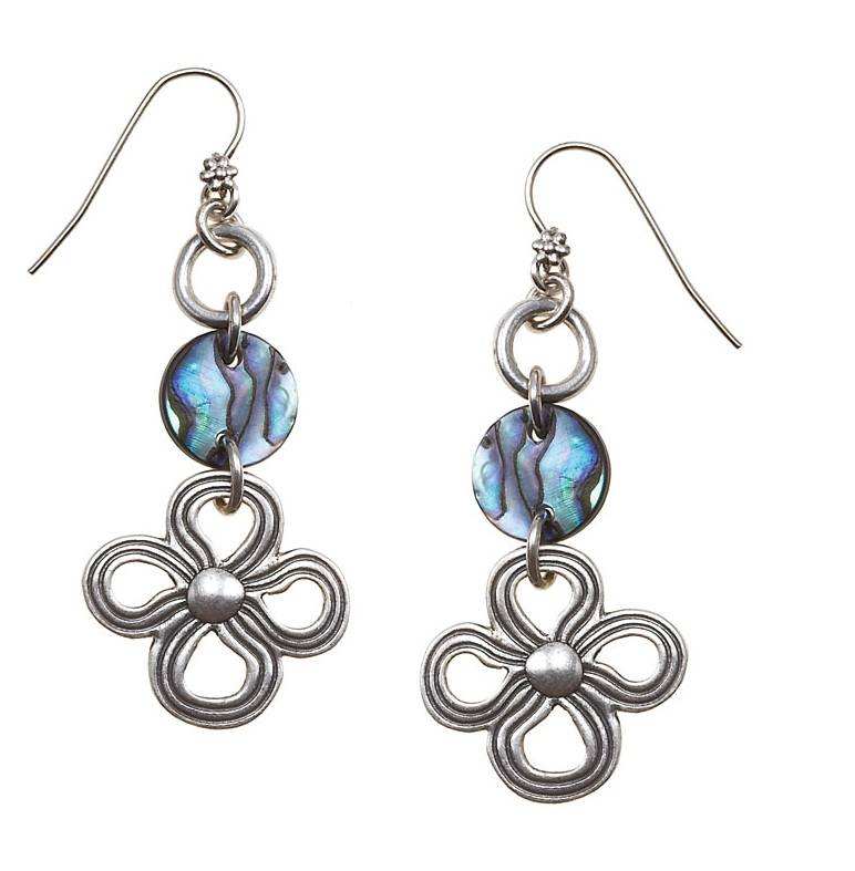 The Bohm Abalone Moon Disc & Flower Earrings - Silver Plate
