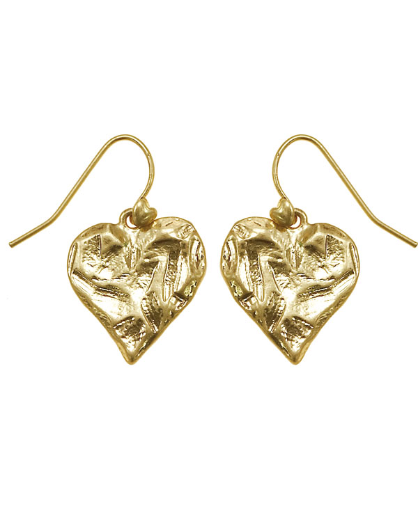 Bohm Hearts Desire Single Heart Dangly Earrings - Gold Plate