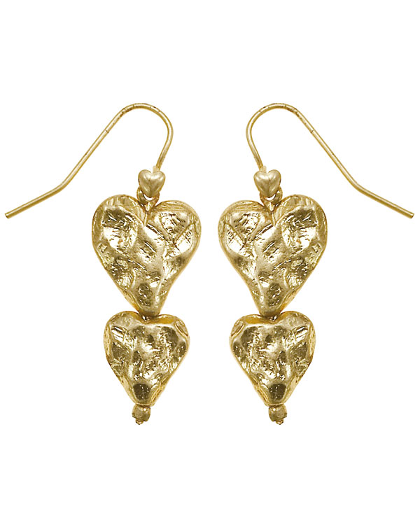 Bohm Hearts Desire Double Heart Dangly Earrings - Gold Plate