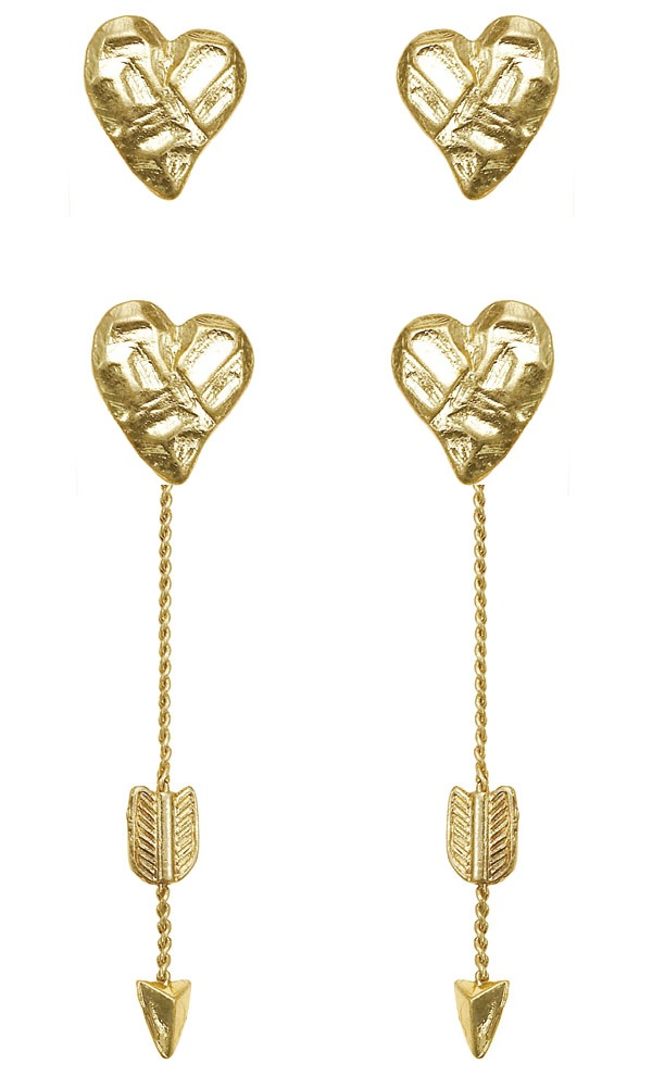 Bohm Hearts Desire Heart & Arrow Dangly & Stud Earrings - Gold Plate
