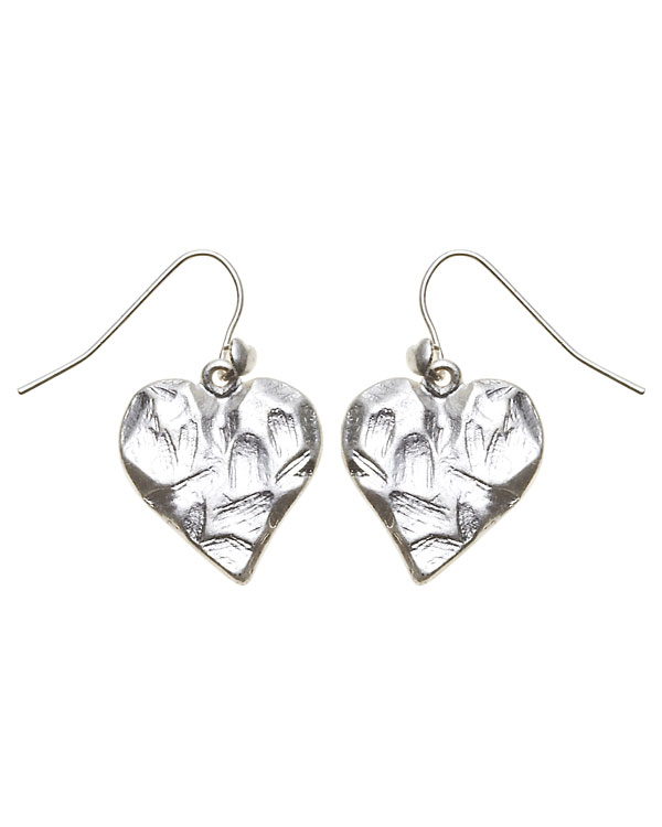 Bohm Hearts Desire Single Heart Dangly Earrings - Silver Plate