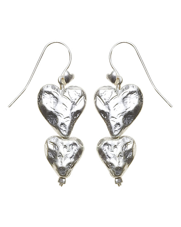 Bohm Hearts Desire Double Heart Dangly Earrings - Silver Plate