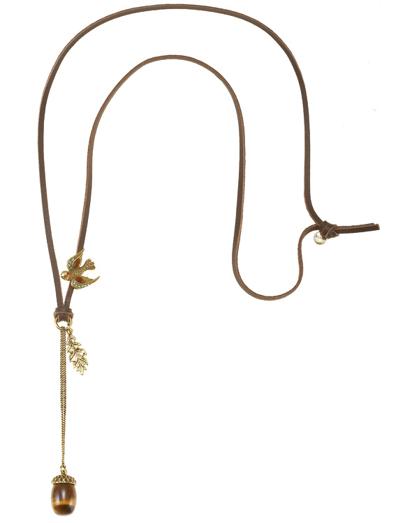 The Bohm - Autumn Ray - Leather Cord Necklace - Gold Plate
