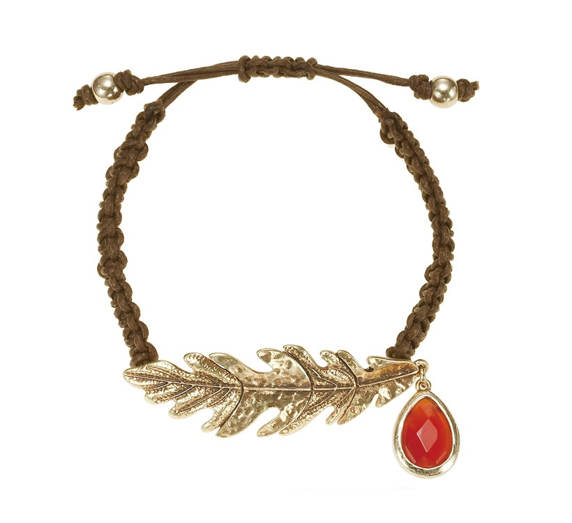 The Bohm - Autumn Ray - Woven Cord Oak Leaf Bracelet - Gold Plate