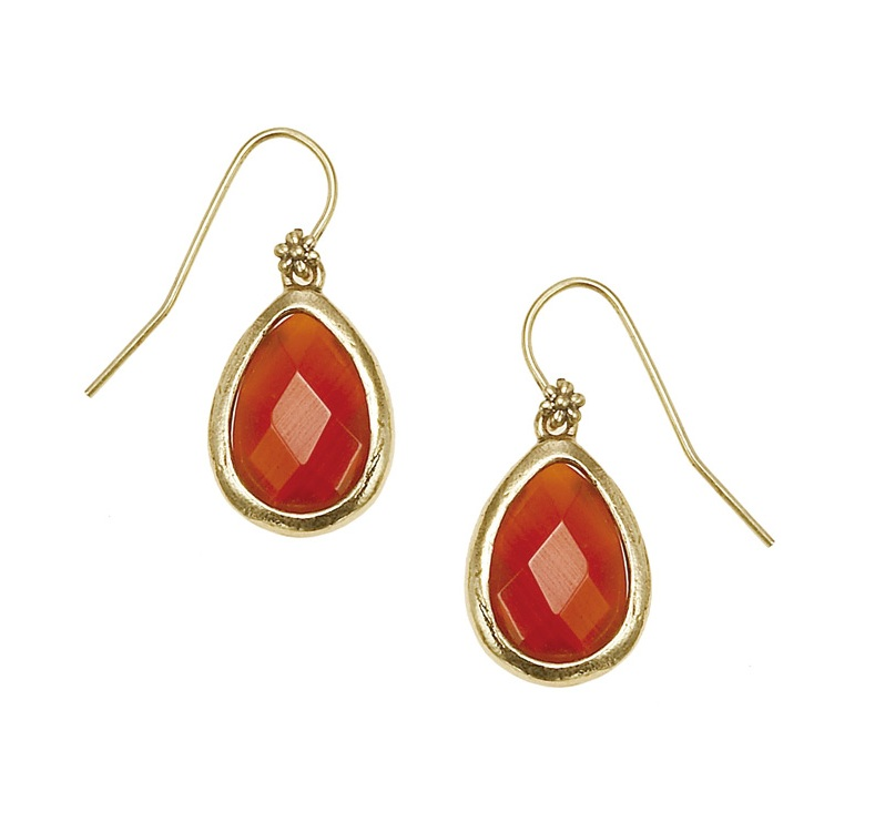 The Bohm - Autumn Ray - Red Agate Faceted Drop Earrings - Gold Plate