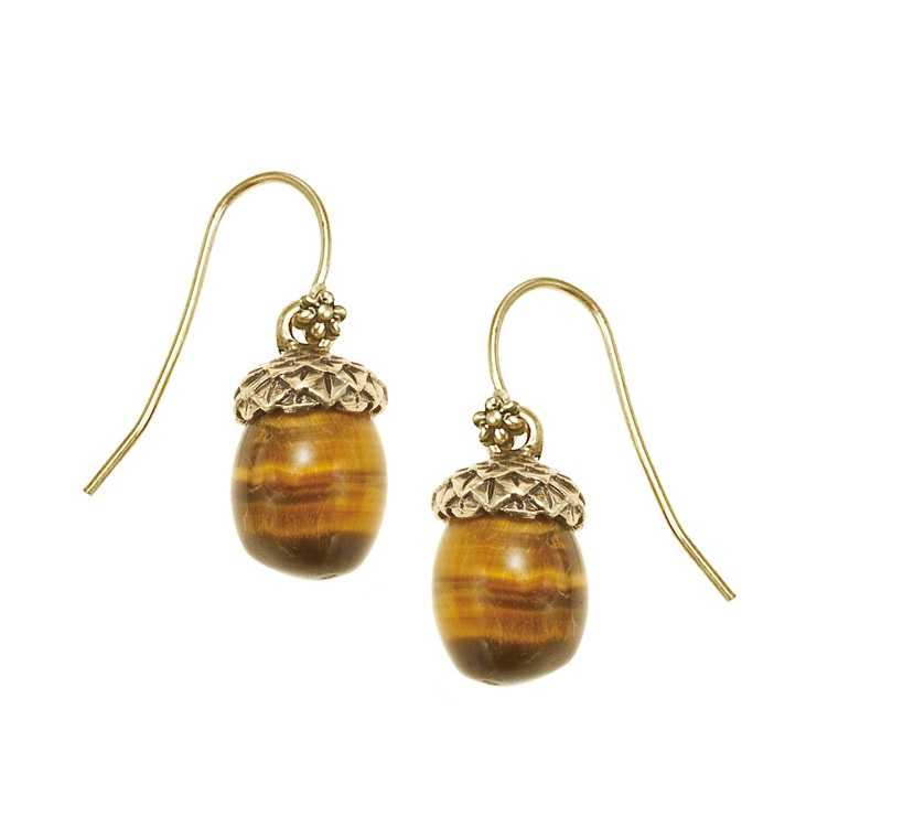 The Bohm - Autumn Ray - Tiger-Eye Acorn Drop Earrings - Gold Plate