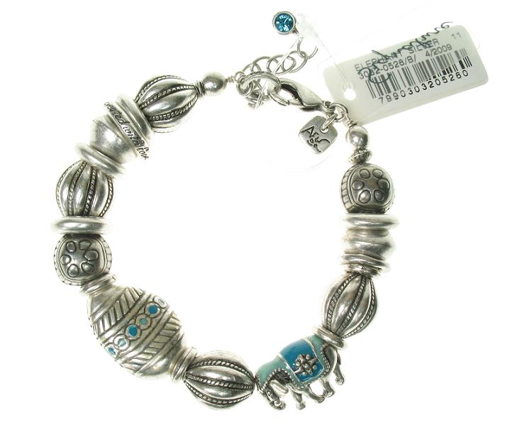 A & C Elephant  Adjustable Bracelet - Silver/Blue