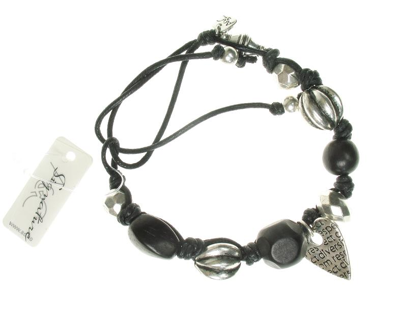 A & C Tweed Heart Braided Cord Bead Bracelet - Black & Silver Plate