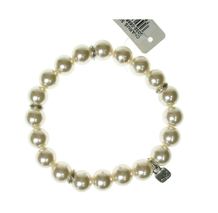 A & C White Pearl Bead Bracelet For Clasp-on Charms