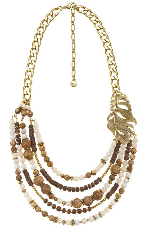 Free Spirit Multi-Layer Necklace - Burnished Gold Plate/Natural Creams/Browns