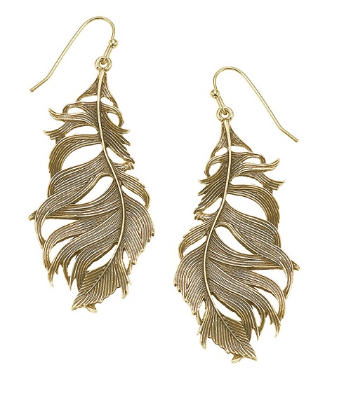 The Bohm Free Spirit Feather Earrings  - Burnished Gold Plate