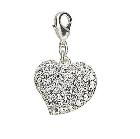 Pilgrim Charm Swarovski Studded Heart - Silver/Clear