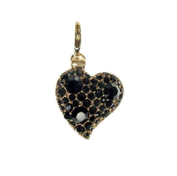 Pilgrim Charm Jet Black Swarovski Studded Gold Love Heart
