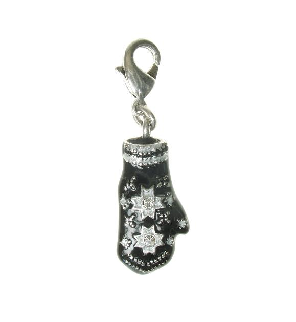 A & C  'Winter Dream' Woollen Mitten Charm Silver Plate
