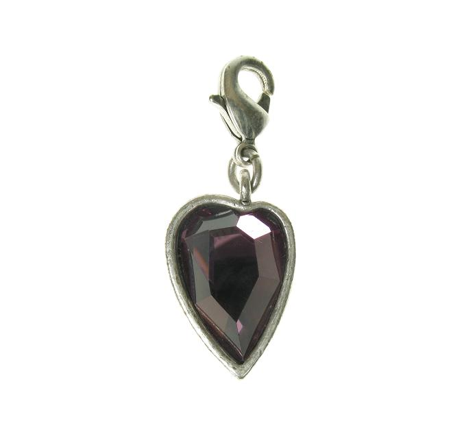 A & C Faceted PURPLE Crystal Heart Charm Silver Plate
