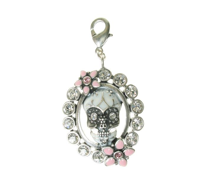 A & C Skull 'Day Of The Dead' Framed Crystal Charm